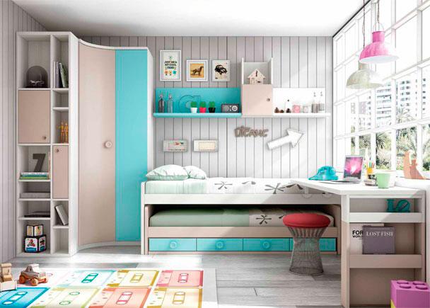 Dormitorio Infantil con dos camas y Armario rincón. Elmenut
