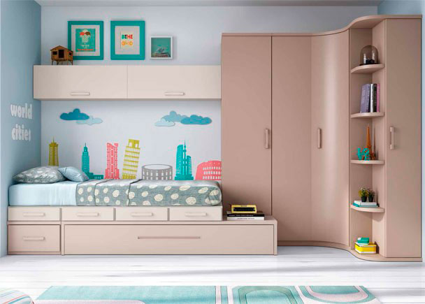 Habitaci n juvenil linea modular con 2 camas elmenut - Cama nido economica ...