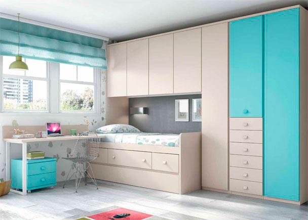 Habitacion infantil con nido y armario con cajones elmenut - Dormitorios juveniles tenerife ...