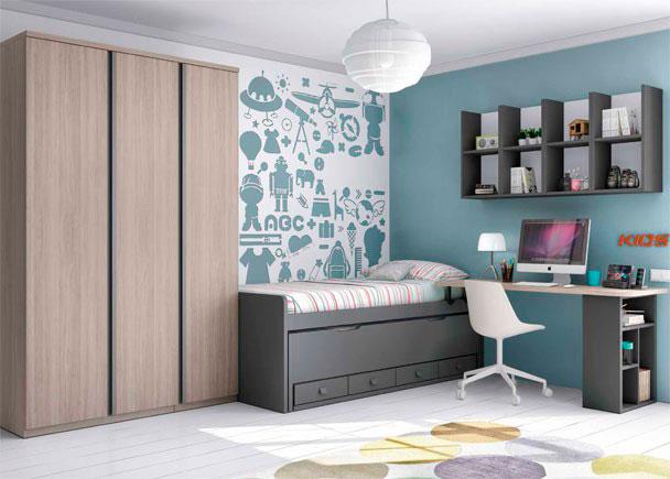 Habitaci n con compacto y armario de 3 puertas elmenut - Armario de habitacion ...