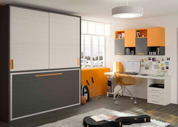 Cama abatible armario corredero y escritorio elmenut for Dormitorios juveniles camas abatibles con escritorio
