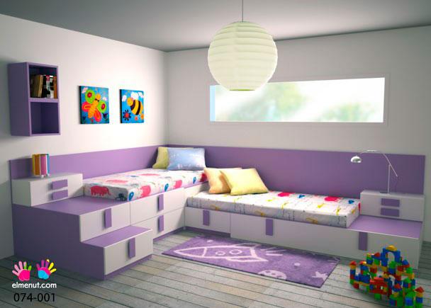 Dormitorio juvenil 074 001 elmenut - Dormitorio dos camas ...