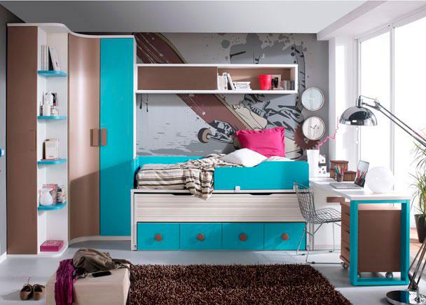 Dormitorio juvenil 545 5012012 elmenut for Dormitorios juveniles con armario esquinero