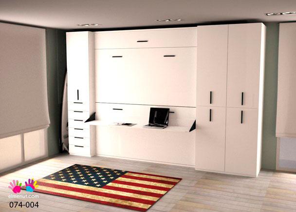 Habitaci n con litera abatible escritorio y armarios elmenut for Armarios para habitaciones infantiles