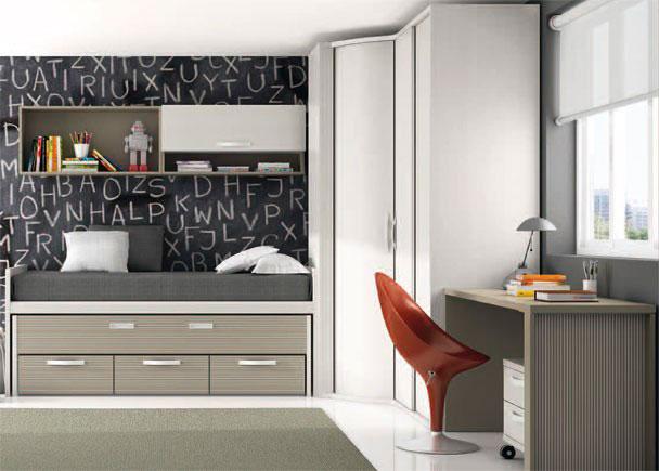 Dormitorio con mueble compacto de dos camas elmenut for Cama oculta mueble