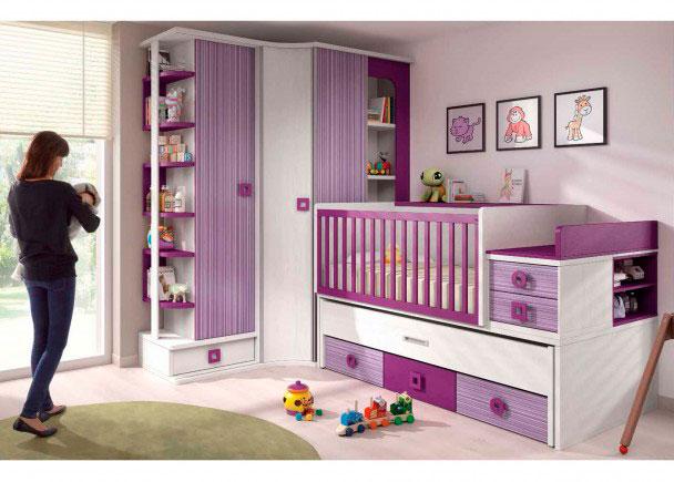 Dormitorio Bebé Cuna Convertible y Armario. Elmenut