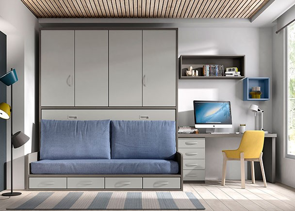 Habitaci n con cama abatible alta y escritorio elmenut - Habitacion cama abatible ...