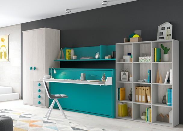 Habitaci n infantil con literas abatibles y escritorio - Habitacion con literas ...