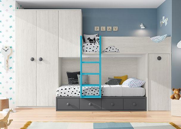 Dormitorio infantil con literas y armario rincón. Elmenut