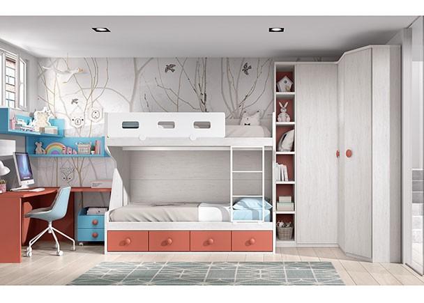 Dormitorio infantil con literas armario y altillo elmenut for Dormitorios juveniles chico ikea