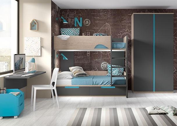 Dormitorio infantil con dos camas tipo tren elmenut - Escalera cama infantil ...