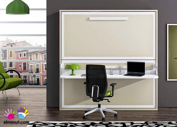 Litera abatible horizontal con escritorio para colchones for Dormitorios juveniles camas abatibles con escritorio