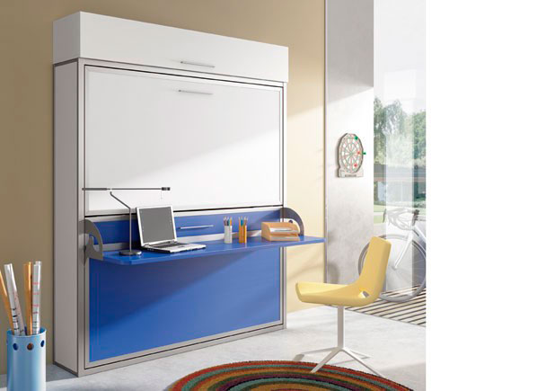 Habitaci n juvenil con cama doble horizontal con for Altura de un escritorio