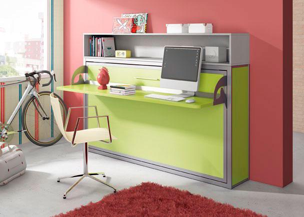 Cama abatible horizontal para colch n de 90 x 190 con - Muebles cama plegables para salon ...