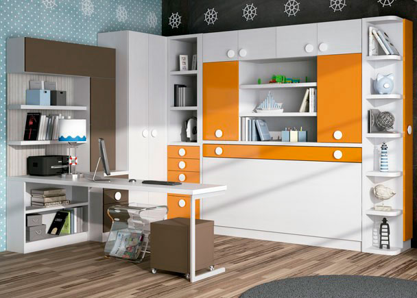 Dormitorio juvenil con cama abatible, con libreria, maletero y armario