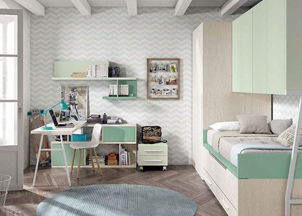 Habitaci n infantil con litera tipo tren de 2 camas elmenut for Habitacion con litera