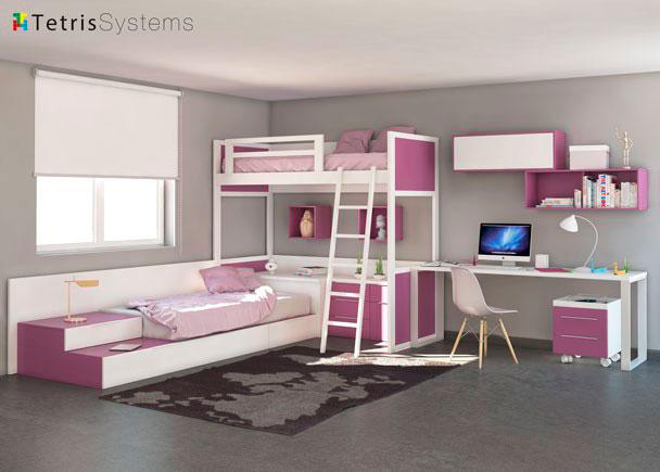 Cama alta y nido inferior tetris con escritorio elmenut for Dormitorios juveniles dos camas en l