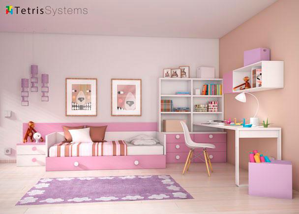 Dormitorio infantil con cama nido y escritorio elmenut - Habitacion infantil cama nido ...