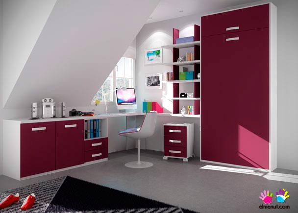 Dormitorio abuhardillado con abatible vertical elmenut for Camas abatibles infantiles