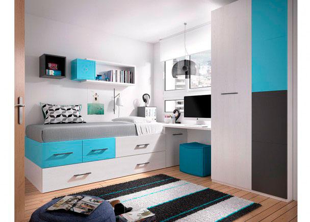 Juvenil con cama nido escritorio armario elmenut - Cama nido economica ...