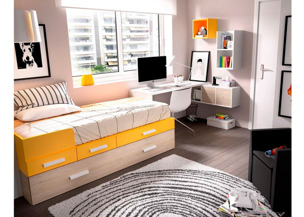 Dormitorio juvenil con cama nido escritorio recto elmenut - Dormitorios con escritorio ...