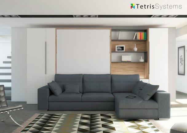 Sal n con cama abatible vertical y chaiselongue elmenut for Sofas para habitaciones juveniles