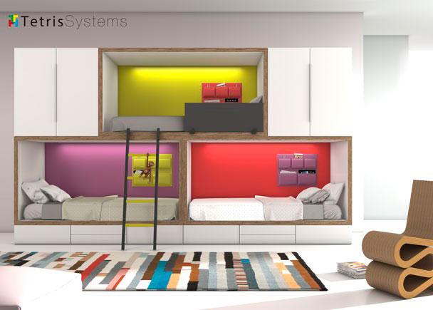 Litera tren 3 camas armarios y cajones inferiores elmenut for Habitaciones juveniles abatibles