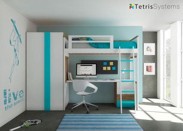 Cama alta modelo zisne con escritorio y armario elmenut - Cama litera con escritorio debajo ...