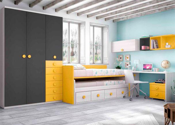 Infantil con compacto de 2 camas armario elmenut - Dormitorios infantiles malaga ...