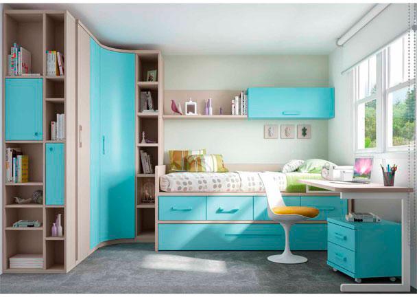 Habitaci n infantil con cama nido armario rinc n elmenut for Precios de dormitorios juveniles