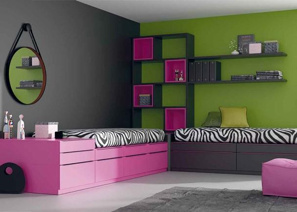 Dormitorio juvenil con camas cubo elmenut for Habitacion juvenil dos camas