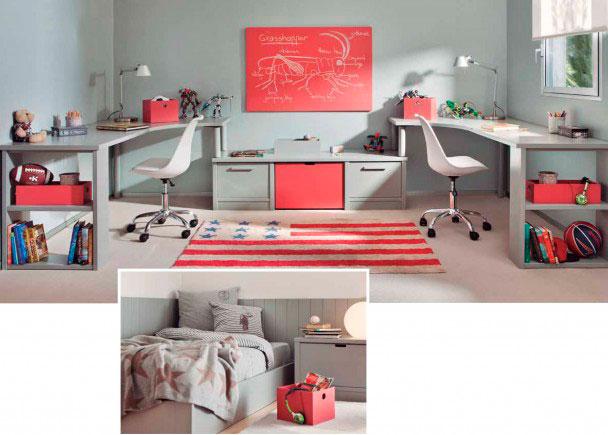 Juvenil modular con zona de estudio doble elmenut - Habitacion juvenil doble ...