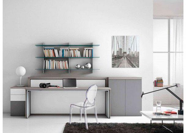 Sal n con cama abatible horizontal y escritorio elmenut for Muebles de oficina ourense