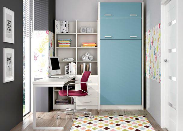 Habitaci n infantil con litera abatible vertical y zona - Habitacion con literas ...