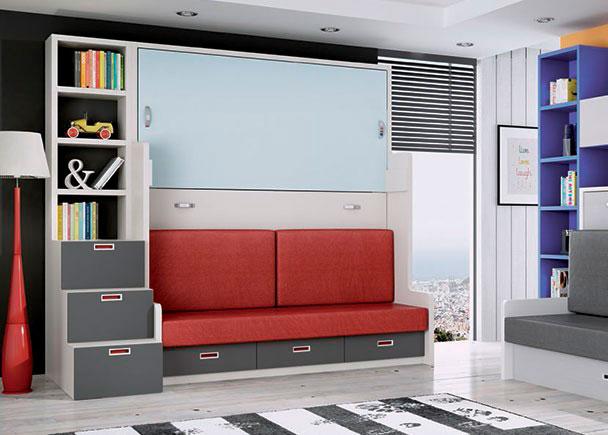 Cuna convertible con cajones inferiores elmenut - Habitaciones juveniles camas abatibles horizontales ...