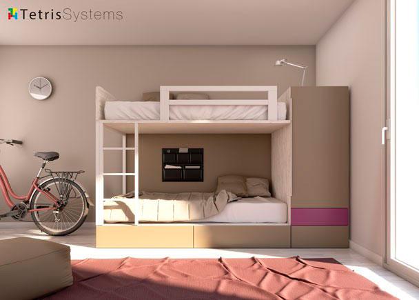 Litera compacta cajones y armario kamaleon elmenut for Dormitorio anos 60