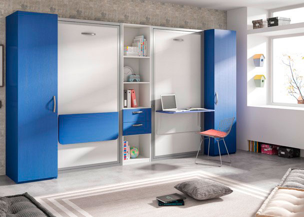 Dormitorio infantil con dos camas abatibles con escritorio - Dormitorios con dos camas ...