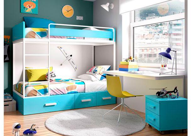 Habitaci n infantil con literas con nido de cajones elmenut - Habitacion con literas ...