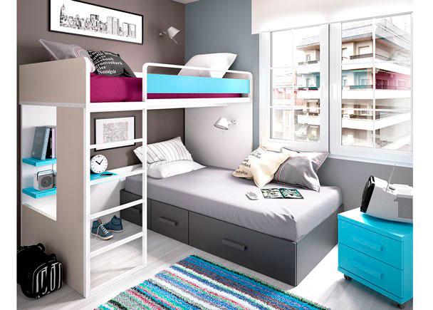 Habitaci n infantil con litera block cama nido elmenut - Habitacion infantil cama nido ...