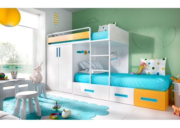 Habitaci n infantil con literas tipo tren elmenut for Cama modular infantil