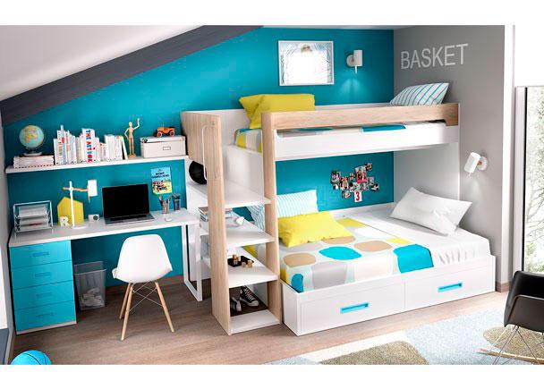 Habitaci n con litera maxi cama de 135 cm elmenut for Habitacion con litera