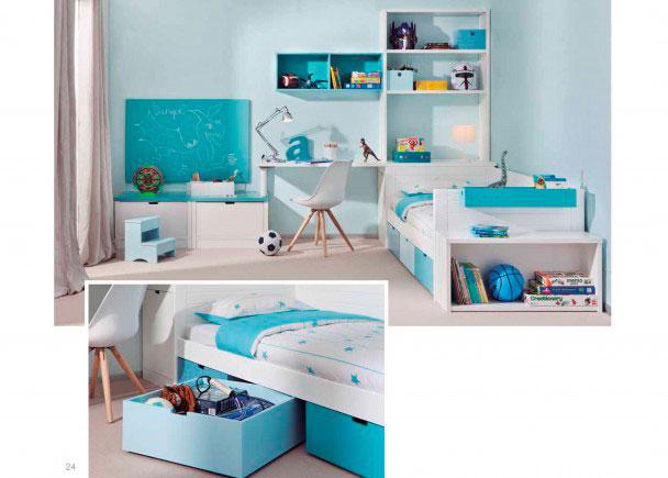 Habitaci n infantil con cama nido 3 cajones jugueteros for Habitacion cama nido
