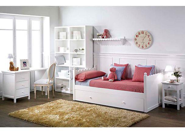 Habitaci n infantil lacada en blanco con cama nido elmenut - Habitacion con cama nido ...