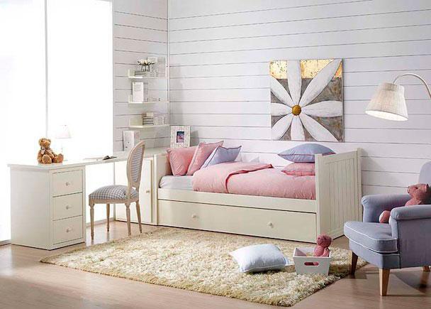 Dormitorio juvenil lacado con cama nido arc n y mesa con for Cama nido con arcon