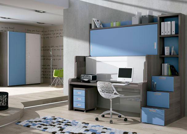 Habitaci n infantil con cama mesa litera abatible elmenut for Habitacion con litera