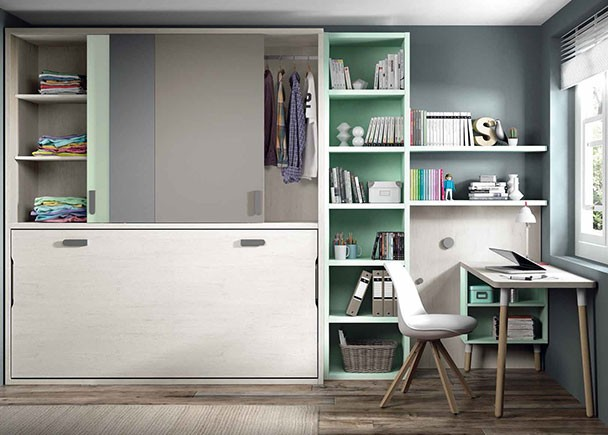 Dormitorio juvenil compacto tarima y armario elmenut - Habitaciones juveniles camas abatibles horizontales ...