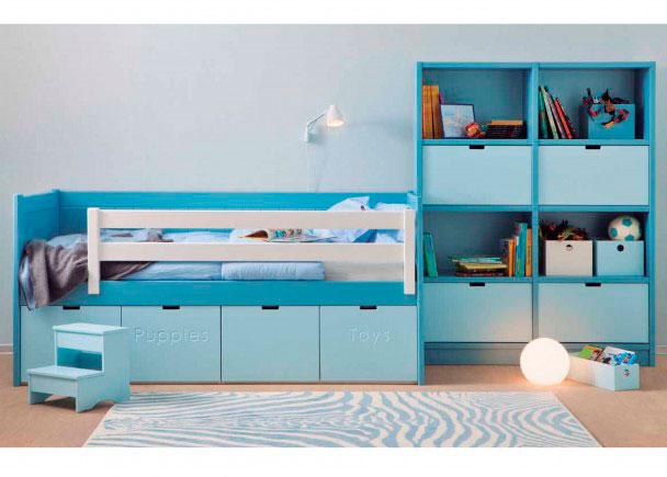 Dormitorio Infantil Colonial Azul Delfín. Elmenut