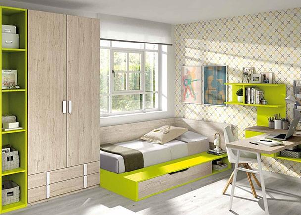Dormitorio con cama bloc con cajones apilables elmenut for Muebles zamorano jose mari