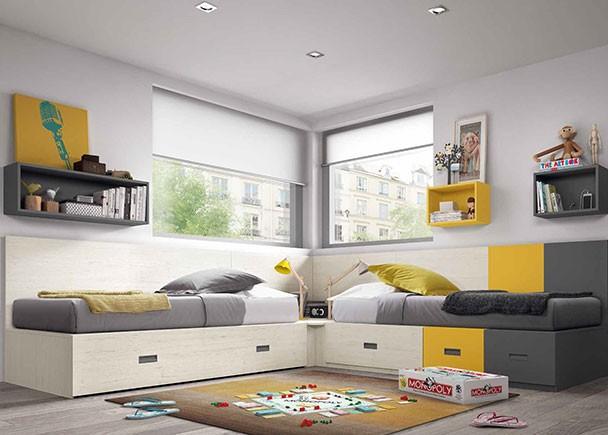Dormitorio infantil con literas armario zapatero elmenut - Dormitorio infantil literas ...