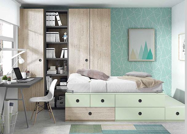 Dormitorio infantil 2 camas tipo tren armario elmenut for Dormitorios tipo tren